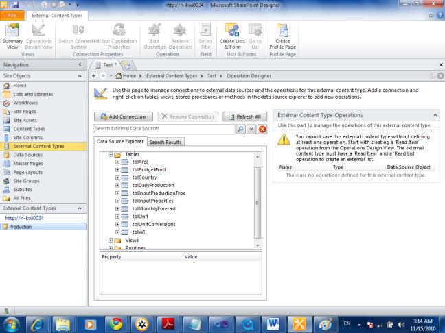 Data-Source-Explorer In External Content Type