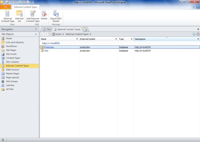Create an external content typevia SharePoint DesignerIn SharePoint