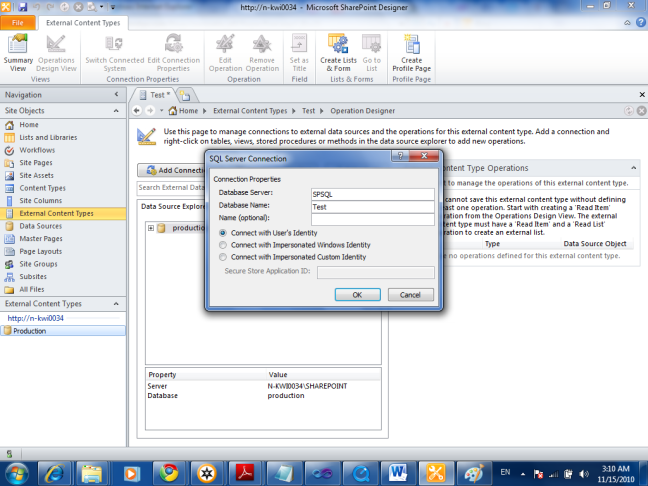 SQL-Server-Connection in external content type in SharePoint