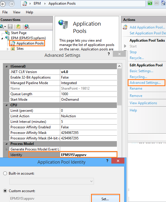 Change the identity Application pool in IIS