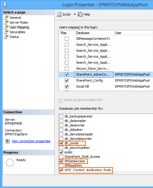 content database permissions for SharePoint Application Pool