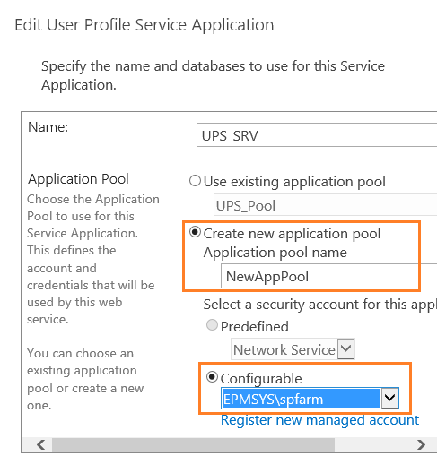 Create a new Application Pool for Application service in SharePoint