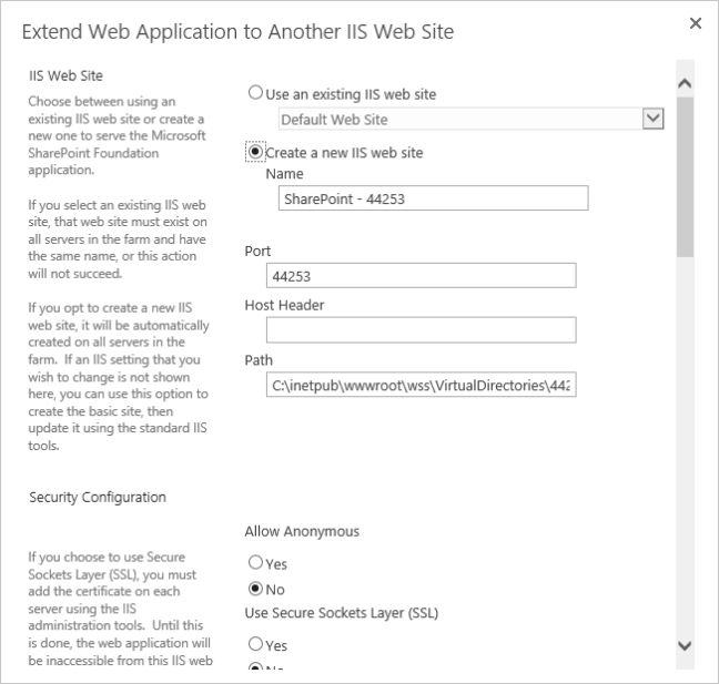 extend web application in SharePoint