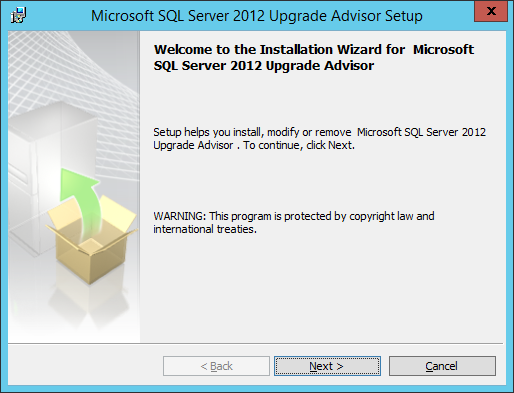 Install Upgrade Advisior wizard