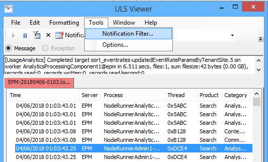 Notification filter in SharePoint ULS viewer