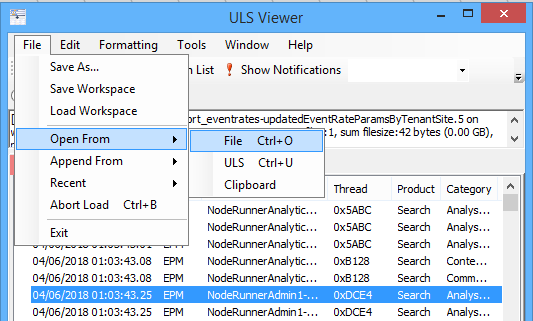 Open file in SharePoint ULS viewer
