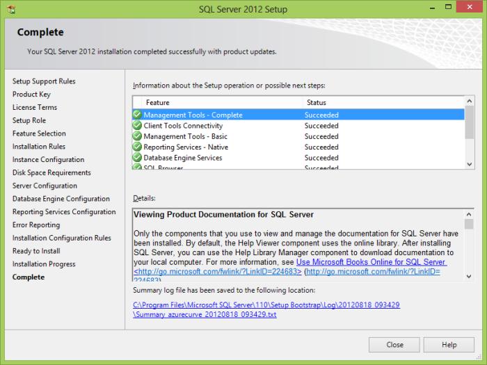 SQL 2012 Setup complete.png