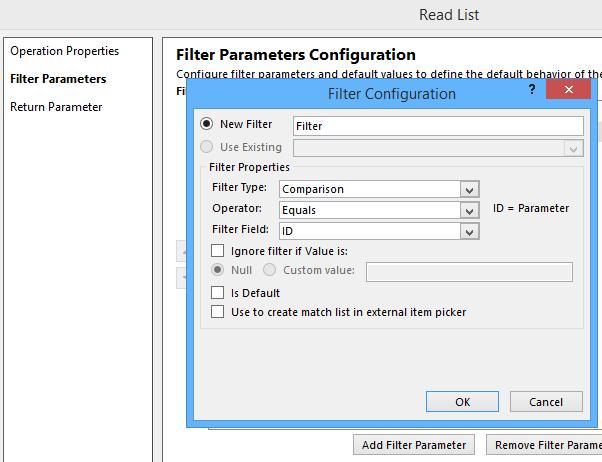 Filter Parmater Configuration