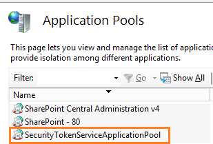 Start Security Token Service Application Pool