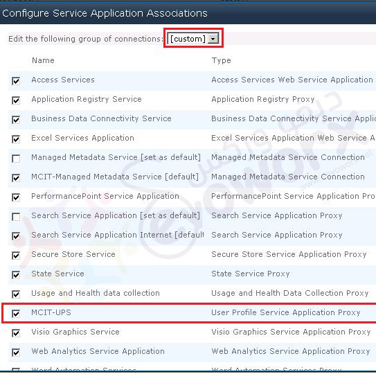 Service Application Assoiciation