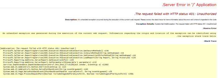 The request failed with HTTP status 401: Unauthorized.