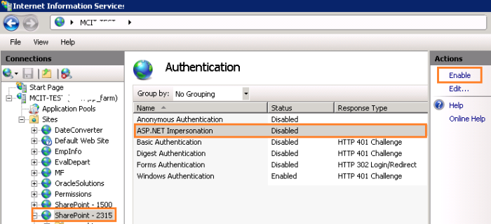Disable ASP.Net Impersonation in IIS