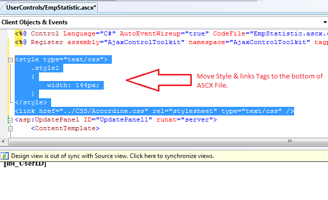 Missing design view after editing Front-Code of Web User Control in ASP.NET