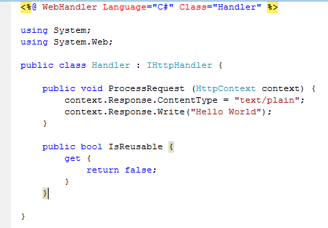 Generic Handler In Visual Studio