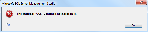 SharePoint Content Database is not accessible