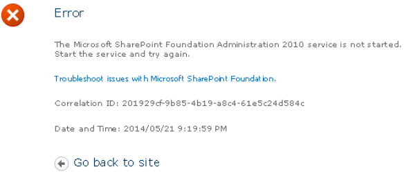 The Microsoft SharePoint Foundation Administration 2010 service is not started.