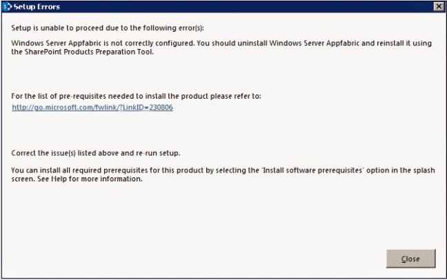Windows Server AppFabric is not correctly configured.You Should uninstall Windows Server Appfabric and reinstall it using The SharePoint Products Preparation Tool.