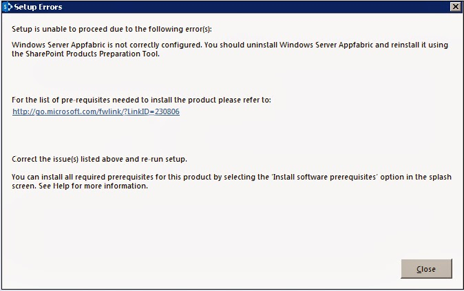 Windows Server AppFabric is not correctly configured.You Should uninstall Windows Server Appfabric and reinstall it using The SharePoint Products PreparationTool.