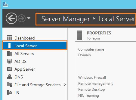 Server Manager - Local Server