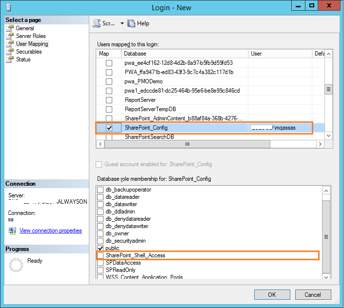 SharePoint Shell Access Role in SQL for SharePoint_Config
