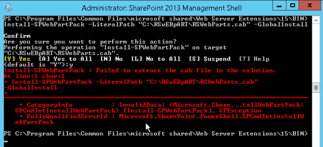 Failed to extract the Reporting Services web part cab file. in the solution.
