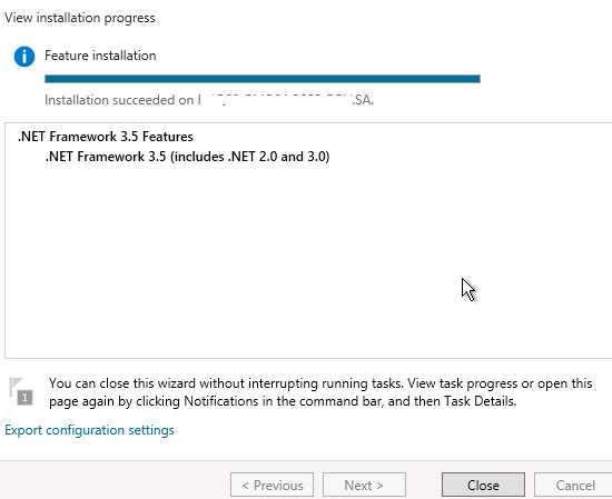 Install .Net Framework3.5 Features on windows server 2012 R2