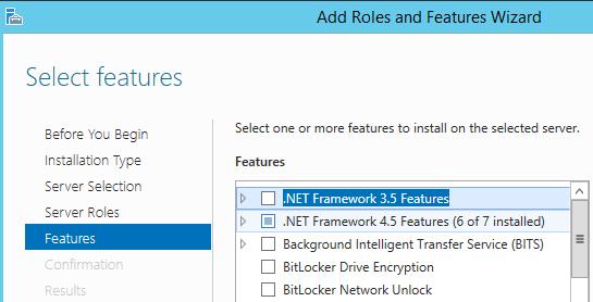 install .Net Framework3.5 Features on windows server 2012
