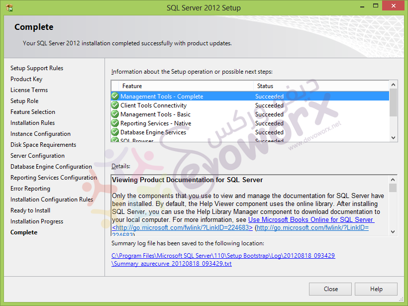 SQL 2012 Setup complete - devoworx