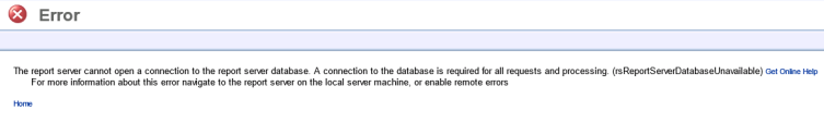 The report server cannot open a connection to the report server database