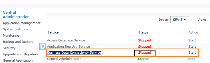 Business Connectivity Service is stopped