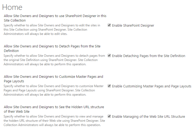 Enable SharePoint Designer settings in SharePoint Online