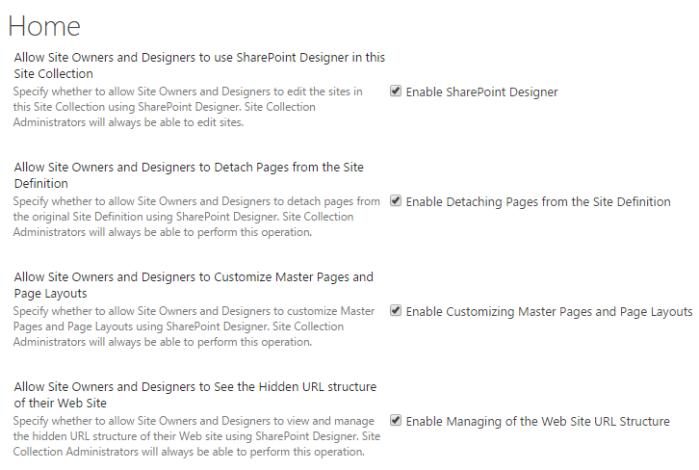 Enable SharePoint Designer settings in SharePoint Online