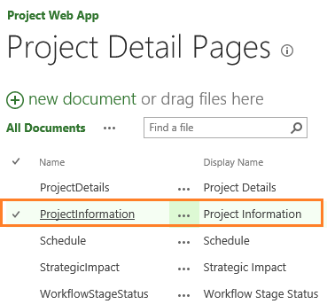 Project Detail Pages in Project Server