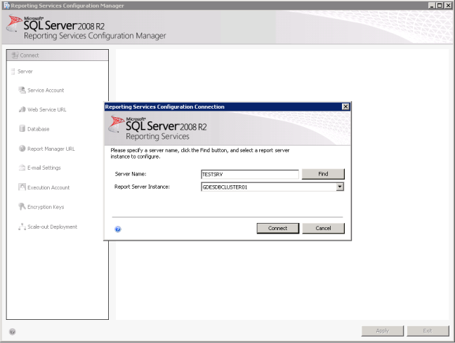 Open Reporting Service Configuration Manager