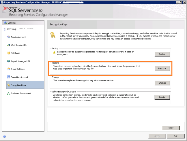 Restore Encryption Keys in SSRS