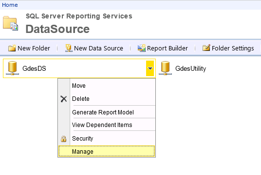 Manage Data source in SSRS