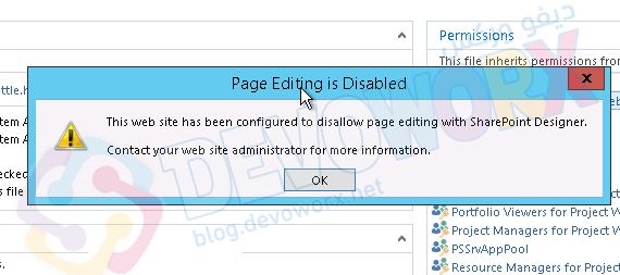 This web site has been configured to disallow editing with SharePoint Designer