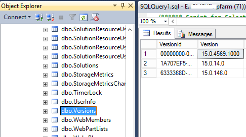 Version table in content database