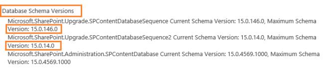Database Schema Versions