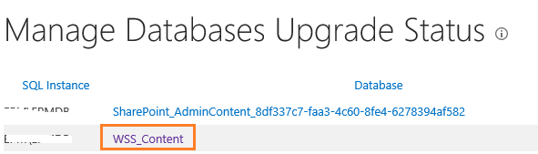 Manage Databases Upgrade Status