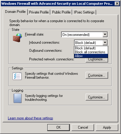 firewall allow inbound connections rules