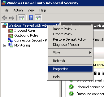 Windows Firewall with Advanced Security properties
