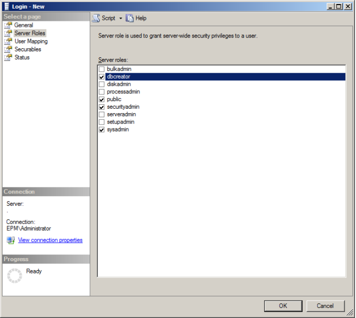 assign server role to sql