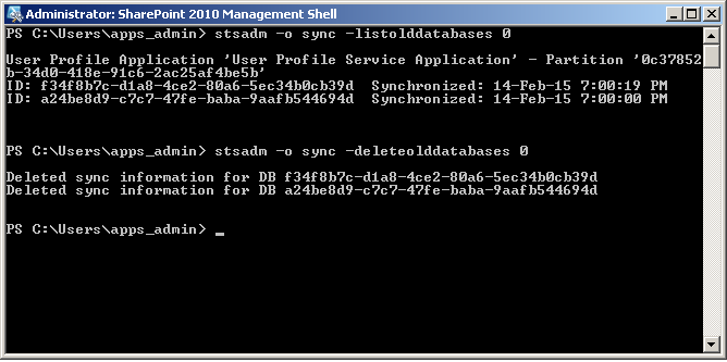 delete old database command