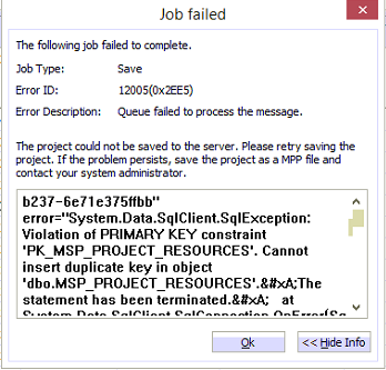 Queue failed to process the message, The Project could not be saved to the server