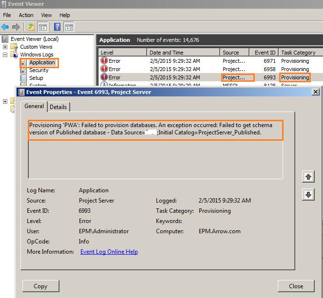 provision PWA event viewer error
