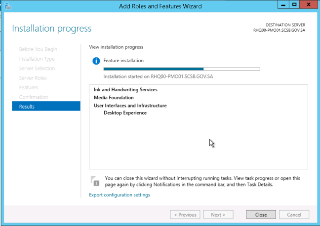 Install desktop experience features in windows server