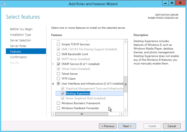 add desktop experience features in windows server