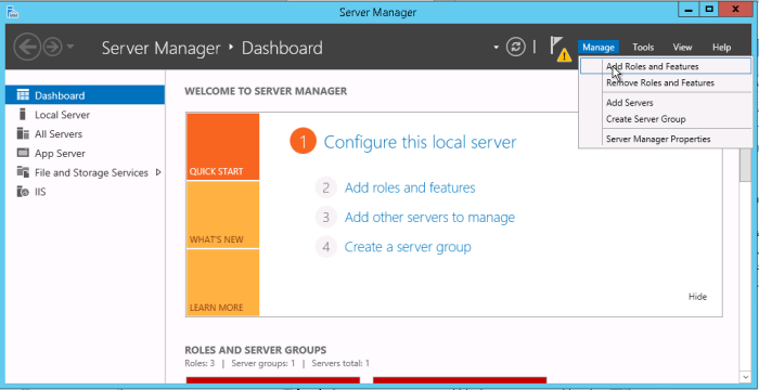 add server role and features in windows server