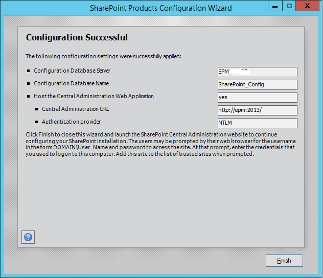 SharePoint Configuration Successful